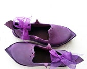 UK 4, Handmade Ladies Shoes, Leather Fairytale Harry Potter, Prickle Shoes 2987 Violet by Fairysteps