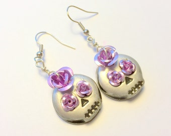 Black,Purple, and Silver Sugar Skull and Roses Handmade Polymer Clay Earrings