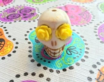 Gigantic Ivory Howlite Skull Bead or Pendant  with Yellow Rose Eyes