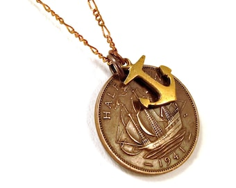 Nautical coin necklace with ship and anchor, British, 1938