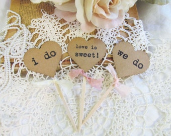 Wedding Cupcake Toppers Party Picks - Kraft Heart i do we do love is sweet - Set of 18 - bridal shower rustic wedding