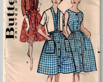 RARE Mid Century Vintage 50's Dress/Bolero Short Jacket Sewing Pattern Bust 46 Button Front Sleeveless Summer Dress Full Skirt Patch Pockets