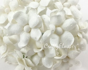 10 White Small Mulberry Paper Flowers for Baskets Scrapbooks Wedding Faux Cupcake Cards Dolls Crafts Roses 15/ZS15