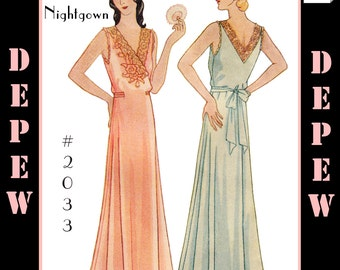 Vintage Sewing Pattern Multi-Size Reproduction 1930's Ladies' NightGown #2033 -INSTANT DOWNLOAD