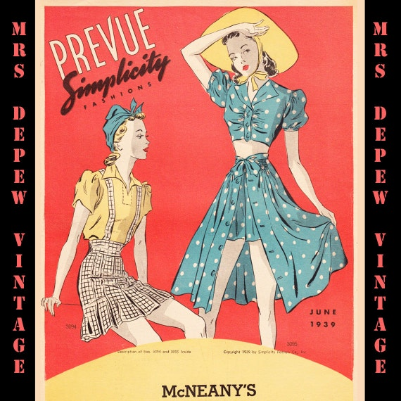3 Vintage Pattern Catalog Booklets Simplicity Prevue PDF Copy From Summer 1939 -INSTANT DOWNLOAD-
