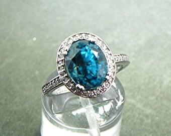 AAAA Natural Blue Topaz 4.30 Carat 10x8mm 14K white gold Diamond halo ring  0735