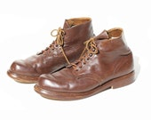 Vintage Men's Brown Leather Ankle Boots / Red Wing Boots / size 14