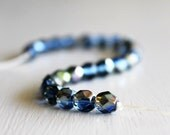 25 Sapphire Celsian 6mm Faceted Czech Glass Beads, Fire Polished Beads, 6mm Glass Beads