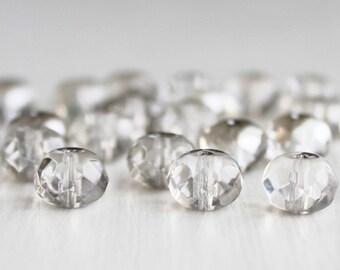 25 Platinum Kissed 8x6mm Czech Glass Rondelles