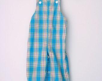 Vintage plaid overalls toddler 9 months romper