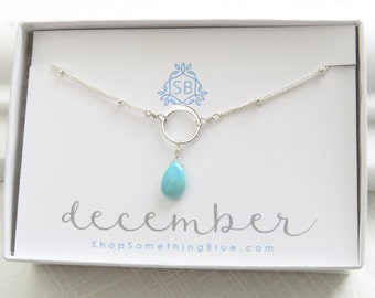 December Birthday Gift Turquoise Necklace on Satellite Chain Smooth Briolette Birthstone Turquoise Blue Gemstone December Birthstone