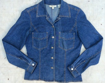 vintage c. 1990s Ann Taylor stretch denim shirt jacket s