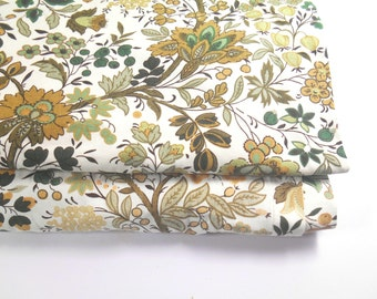 Vintage Ditsy Green/Yellow/Brown Print Curtains