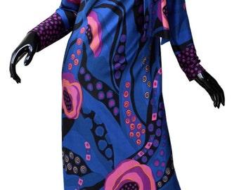 Vintage Op Art Floating Roses Maxi Dress Sz M Blue Pink  Attached Scarf Paris