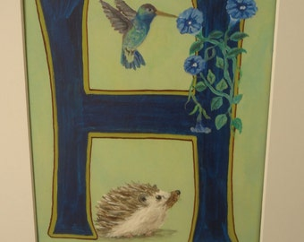 The Letter H Print with a Hedgehog and Hummingbird