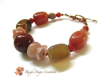 Earthy Autumn Gemstone Bracelet. Chunky Agate Jasper Carnelian Stones. Rustic Fall Colors Russet Red Orange Peach Honey Amber. Copper Toggle