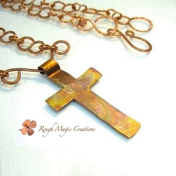 Old Rugged Cross Pendant Rustic Copper Chain Necklace Christian Jewelry Religious Spiritual Inspirational Gift Women Men Wife Husband  N141