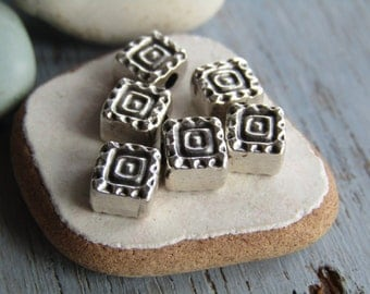 Antiqued silver beads, mini square, ethnic style, tiny spacer, silver plated antiqued / pewter tone metal casting 6mm (10 beads) 6As4171