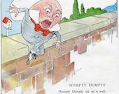 Vintage 1940 Humpty Dumpty Nursery Rhyme Storybook Illustration Print, Children, Humpty Falls off the Wall