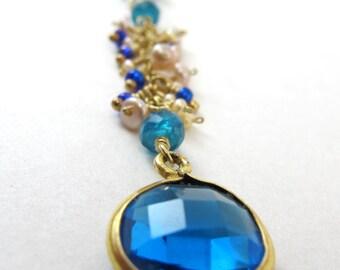 Blue quartz pendant, multi gemstone 14K gold fill necklace, cascade multi gemstones cluster necklace