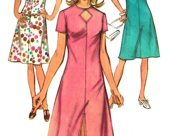 1970s Dress Pattern Keyhole Neckline Simplicity Vintage Sewing Women's Misses Size 16 Bust 38 Inches