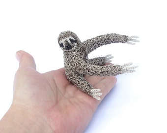 Sloth shoulder arm brooch - unusual different jewelry, sculptural animal brooches, interesting animal jewelry
