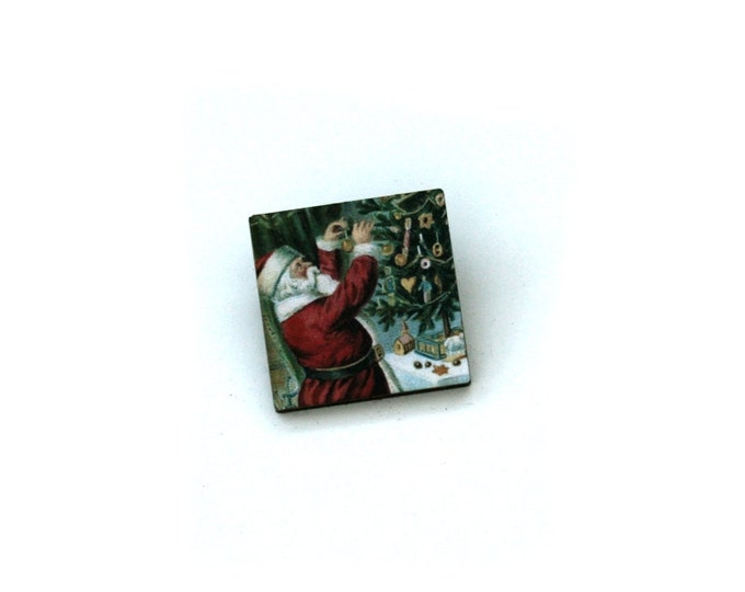 Father Christmas Brooch, Santa Illustration, Wood Jewelry, Christmas Brooch, Wood Jewelry