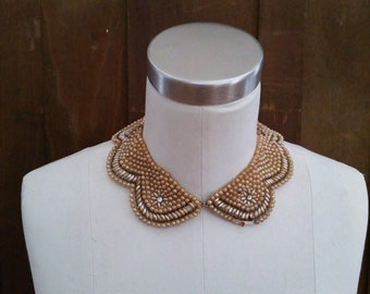 Vintage Pearl Style Beaded Collar Glentex Made in Japan Great Retro Necklace Peter Pan Style Collar