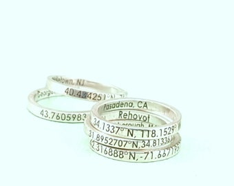 Custom Coordinates Ring - Jewelry - Latitude Longitude Ring - Personalized Ring  -  Coordinates Ring  - Engraved Ring