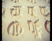 "Vintage 1963 Duncans Press Mold 3/4"" Old English Letters - Ceramics Clay Pottery"