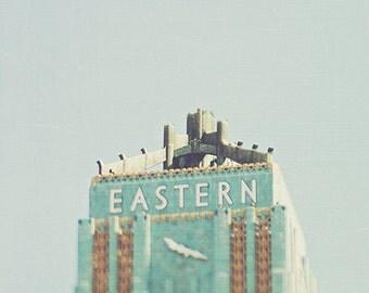 downtown Los Angeles photograph, DTLA art print, The Eastern Columbia building, Art Deco architecture print, loft decor, blue green, city