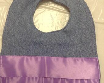 Jean Baby Bib, Purple Ruffle