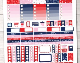 Instant Download Weekly Planner Sticker Kit Red Pink Navy Blue for ECLP
