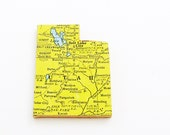 Utah Brooch Pin / Unique Wearable History Gift Idea / Upcycled 1940s Straus Wood Puzzle Map Piece / Timeless Gift Under 25