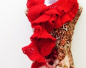 Long Scarlet Red Scarf - Boa / Scalloped Ruffles / Feminine Romantic Victorian Crochet Fashion / OOAK Gift For Her Under 100 / 78 IN Long