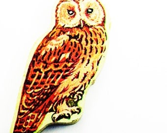1960s Owl Brooch - Pin / Unique Gift Under 50 / Upcycled Vintage Hand Cut Wood Jewelry / Brown Feathered Bird & Wood Name Pin