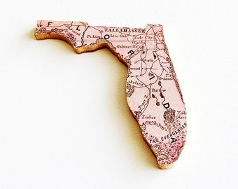 1907 Florida Brooch - Pin / Unique Wearable History Gift Idea / Upcycled Antique Wood Jewelry / Timeless Gift Under 50