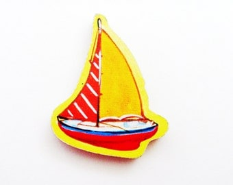 Yacht - Sailboat Brooch - Lapel Pin / Yellow, Red & Blue Wood Nautical Pin / Upcycled 1960s Wood Puzzle Piece / Unique Gift Under 20