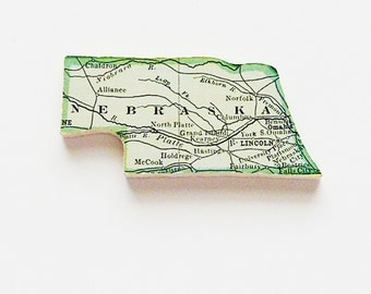 1915 Nebraska Brooch - Pin / Unique Wearable History Gift Idea / Upcycled Antique Wood Jewelry / Timeless Gift Under 50