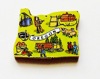 1960s Oregon Brooch - Pin / Unique Wearable History Gift Idea / Upcycled Vintage Hand Cut Wood Jewelry / Timeless Gift Under 25