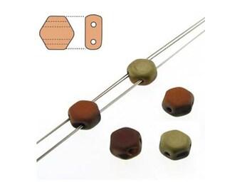 Honeycomb Czech Beads 2 holes 18179 , Matte Jet California Gold, (2 strands about 60 beads), 6mm Flat Hexagon Beads,   Honey Comb Bead