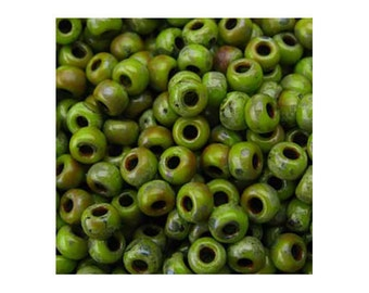 Miyuki Seed Beads 6/0 Picasso Chartreuse 6-4515 20g in Tube, Green Glass Seed Beads, Size 6 Seed Beads, Japanese Seed Beads