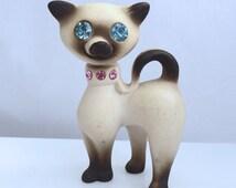 Siamese Cat Ceramic KITTY Rhinestone Eyes & Collare - Vintage