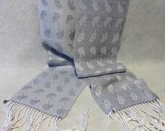 Handwoven Scarf - Hand Woven Tencel Scarf - Gingko Scarf - Woven Tencel Scarf - Silver Scarf