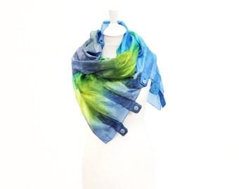 silk scarf, felt scarf, hand painted, dyed, wool scarf, merino, winter scarf, kate ramsey, fabulousfelt, blue, green