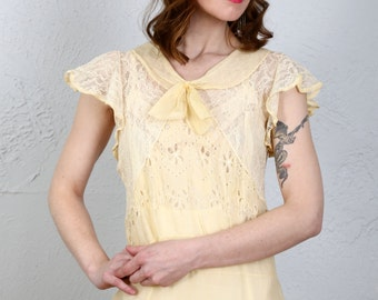 SALE- 1920s Organza Dress in Yellow