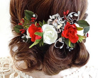 red hair clip, floral hair comb, christmas hair accessories for women, red rose, red wedding hair accessories, crystal brooch headpiece
