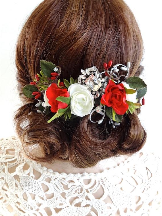 hair clip floral hair comb christmas hair accessories