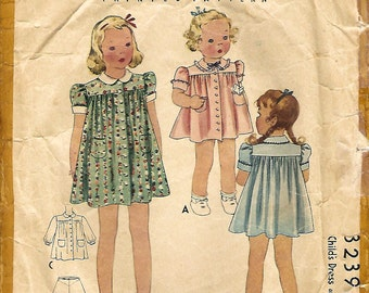 1930s McCall 3239 Vintage Sewing Pattern Todder Dress and Panties Size 1
