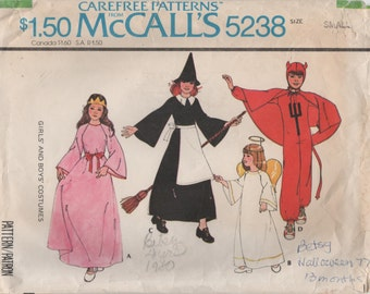 1970s McCall's 5238 Vintage Sewing Pattern Girls and Boys Costumes Princess, Witch, Angel, Devil Size Small